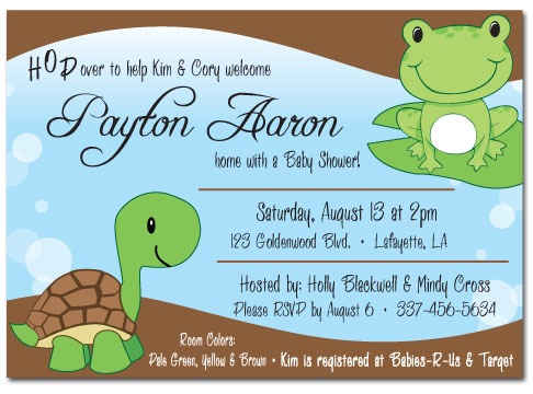 boy frog & turtle baby shower invitation, Baby shower invitations
