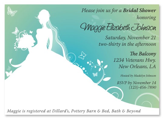 Bridal Shower Invitation BlueGreen Bride Silhouette Sample – Sample of Bridal Shower Invitation